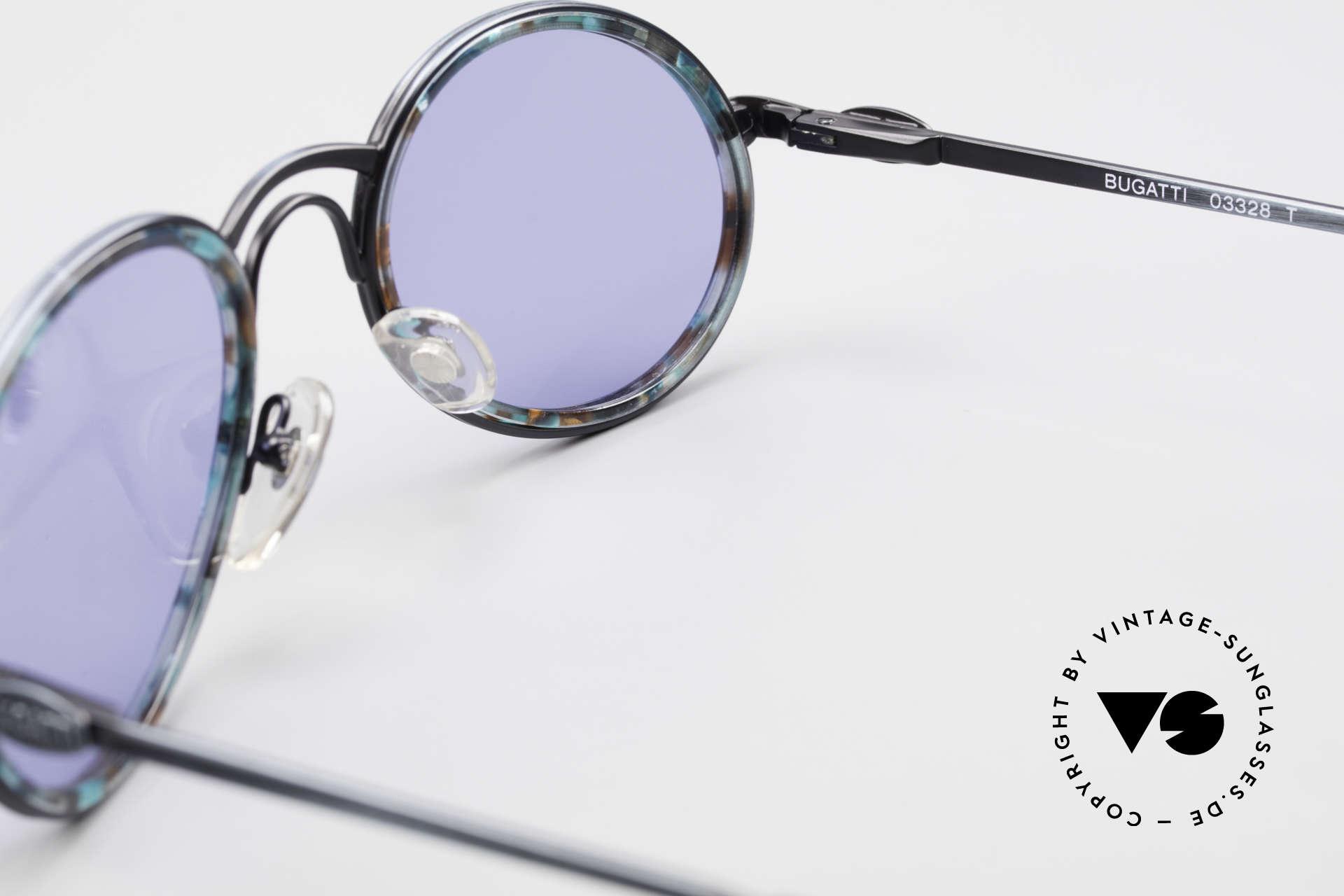 Bugatti 03328T 80's Bugatti Men's Sunglasses, the blue sun lenses can be replaced with prescriptions, Made for Men