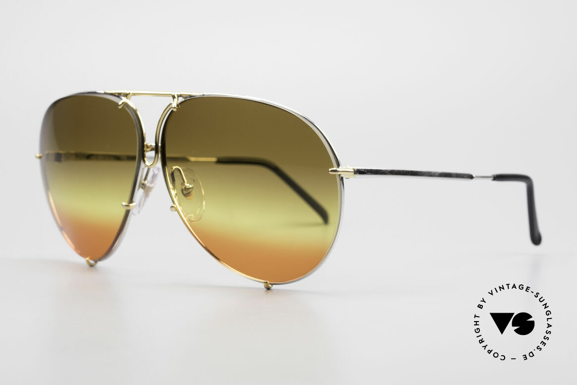 Porsche 5623 One Of A Kind 80's Customized, CUSTOMIZED: triple gradient brown/yellow/red lenses, Made for Men and Women