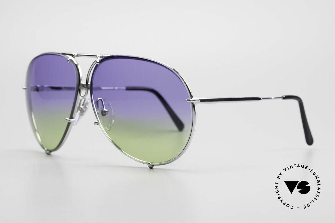 Porsche 5623 Collector's Sunglasses Vertu, CUSTOMIZED: double gradient purple/green sun lenses, Made for Men and Women