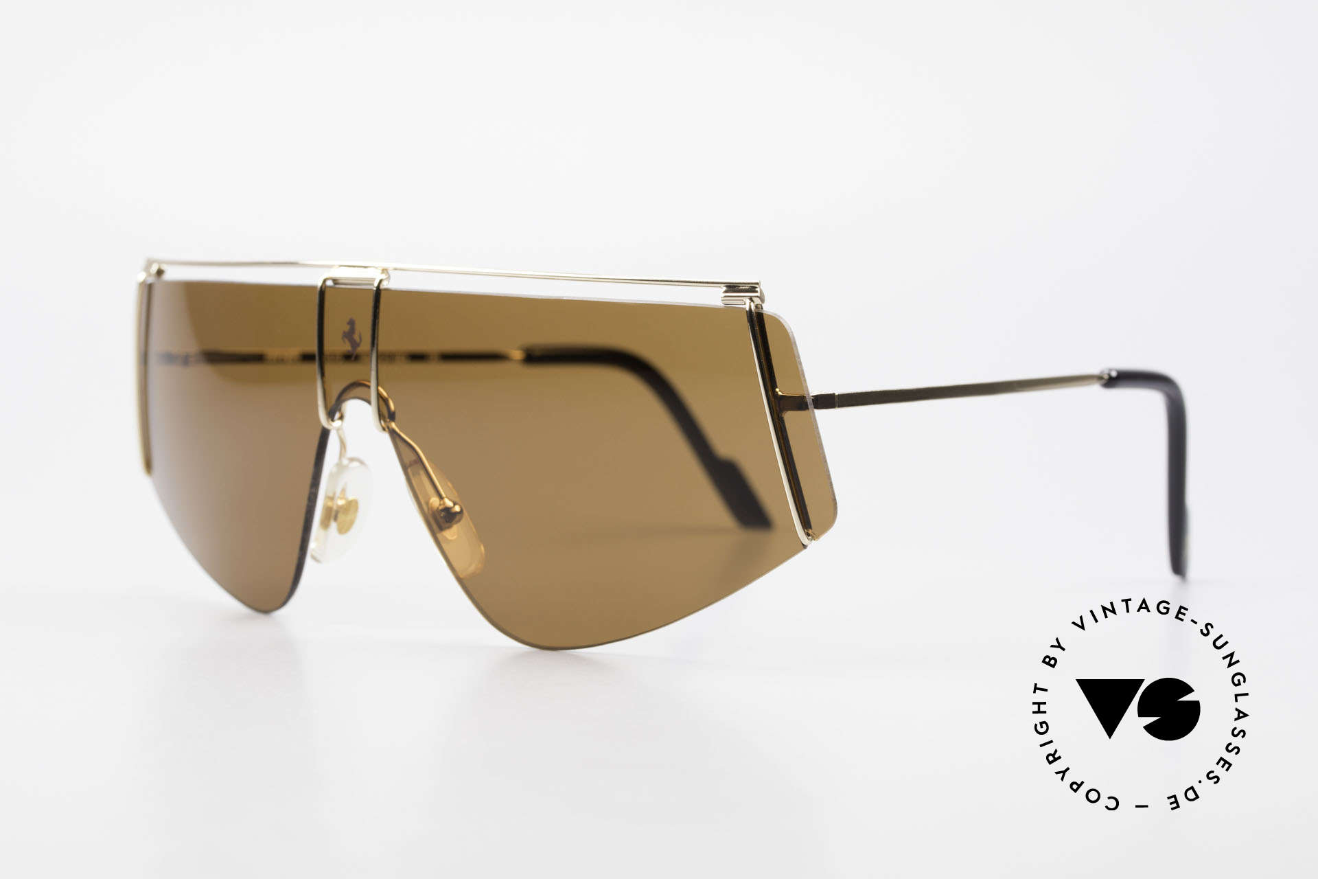 Ferrari F15/S Luxury Sports Sunglasses 90's, panorama view design with only one single lens, Made for Men and Women