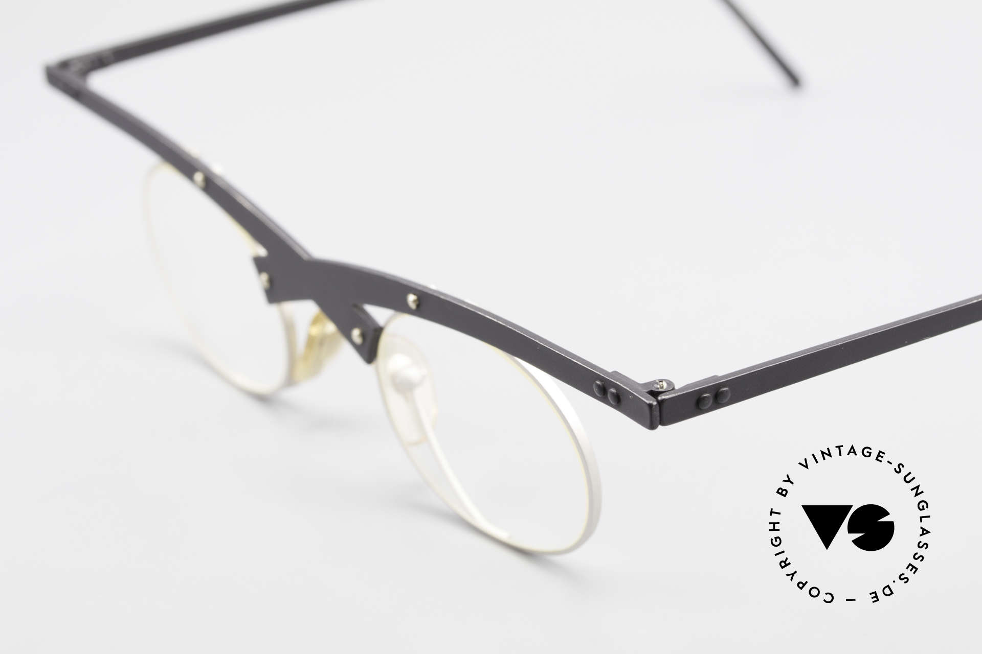 Theo Belgium Hio 11S Crazy 90's Vintage Eyeglasses, crazy 1990's metal eyeglasses in top-quality; art object!, Made for Men and Women