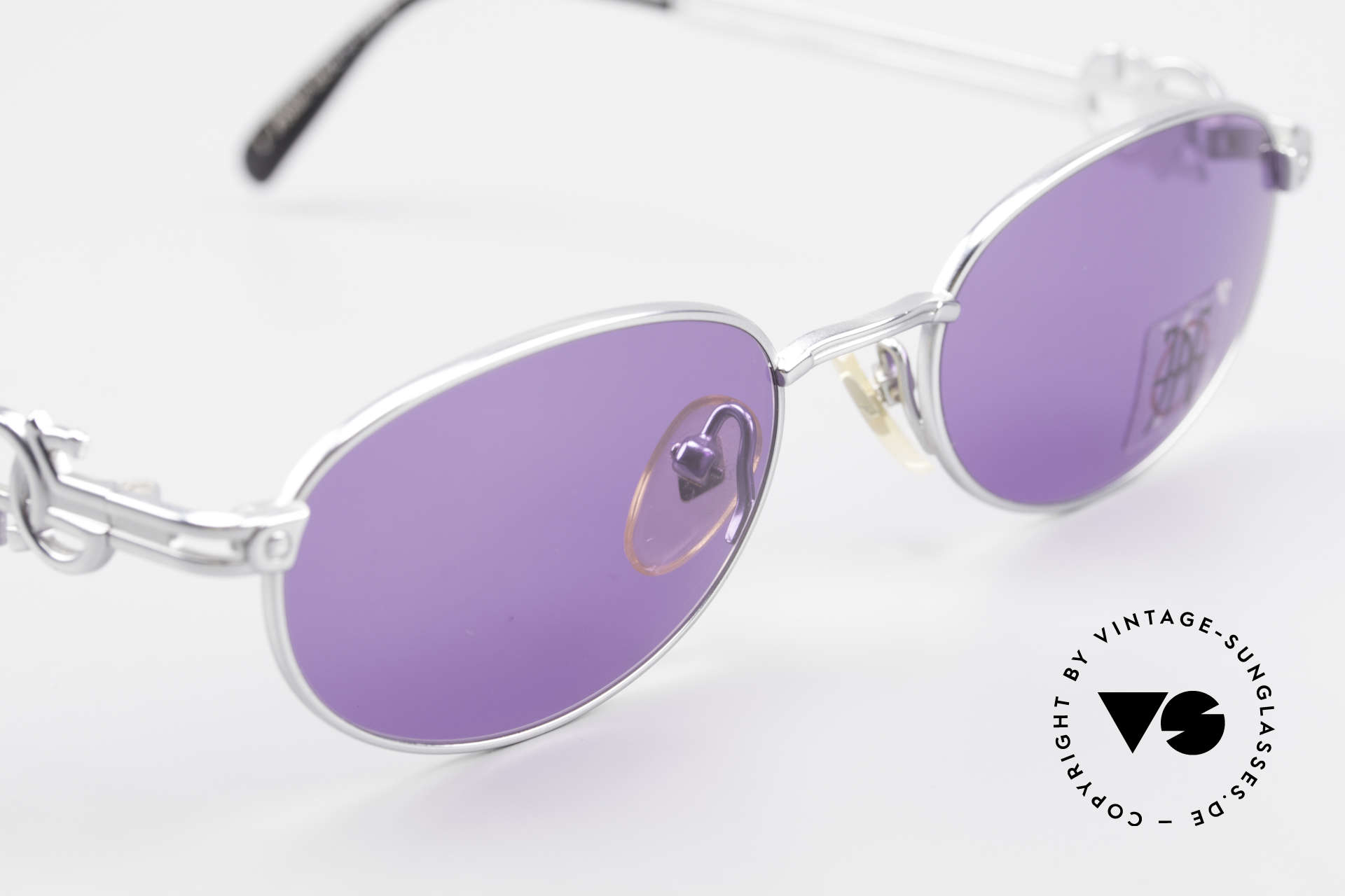 Jean Paul Gaultier 57-5101 Oval JPG Vintage Sunglasses, with purple sun lenses (for 100% UV protection), Made for Men and Women