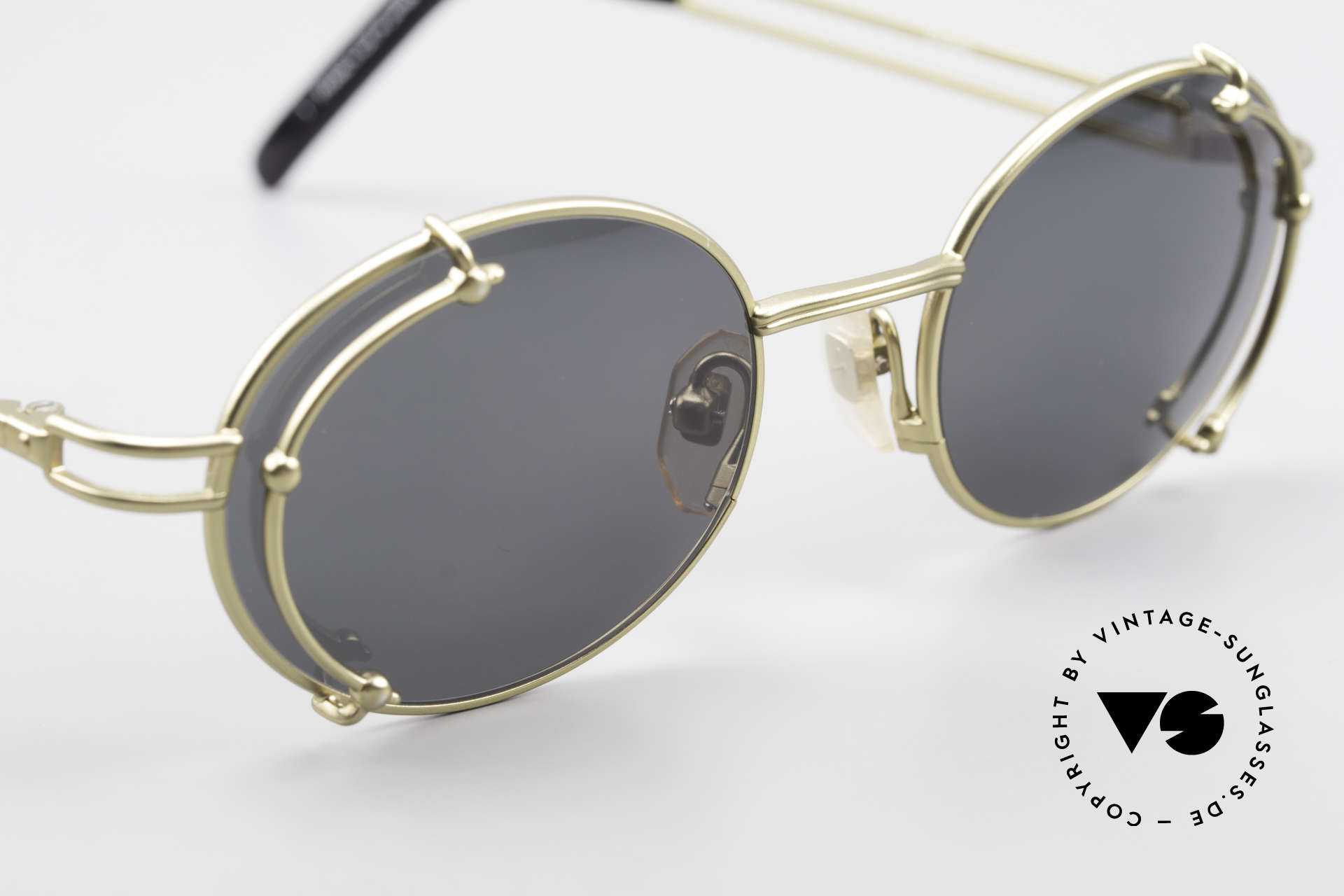 """Yohji Yamamoto 52-4107 Oval 90's Designer Sunglasses, very interesting frame finish in a kind of """"antique gold"""", Made for Men and Women"""