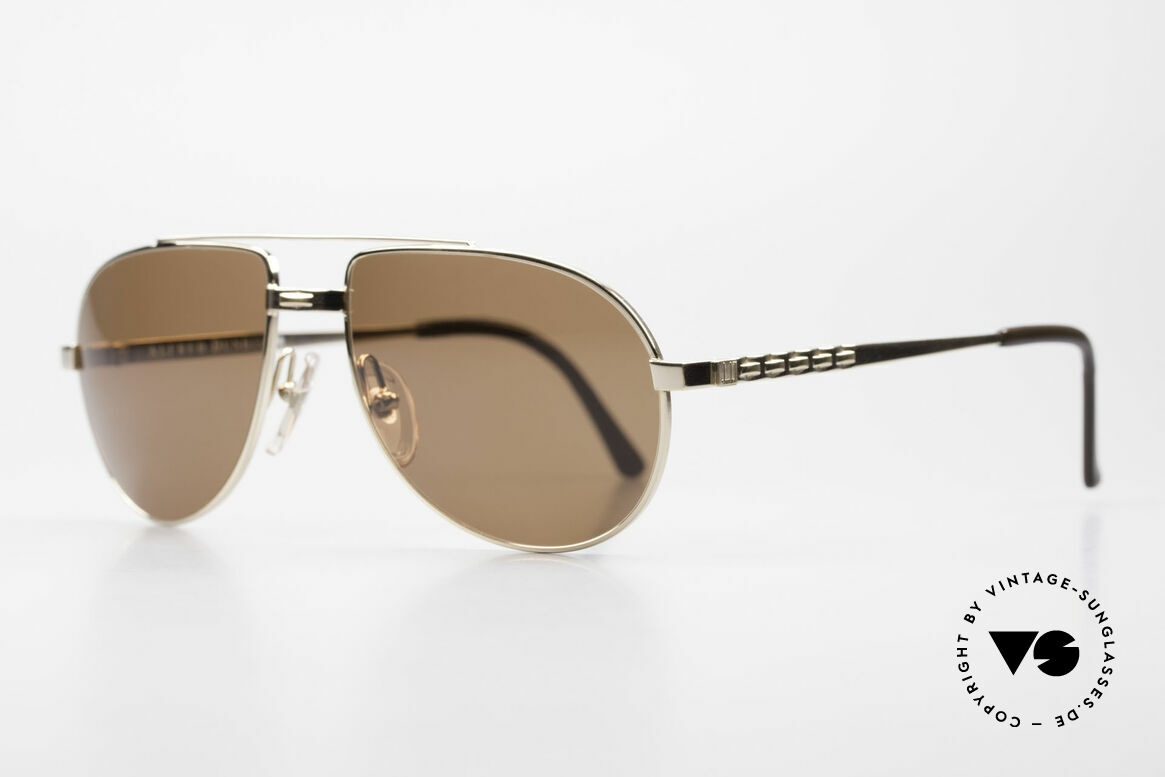 Dunhill 6147 90's Luxury Aviator Sunglasses, gold-plated metal frame with brown tinted sun lenses, Made for Men
