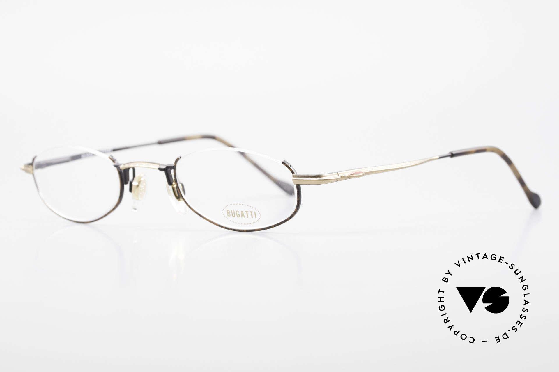 Bugatti 23687 High-Tech Men's Reading Frame, noble finish in chestnut-brown / black & dull gold, Made for Men