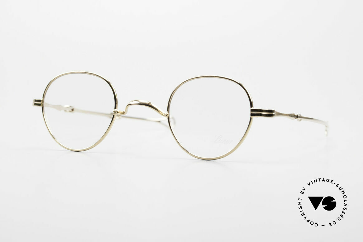 """Lunor I 15 Telescopic Gold Plated Sliding Temples, Lunor: shortcut for French """"Lunette d'Or"""" (gold glasses), Made for Men and Women"""