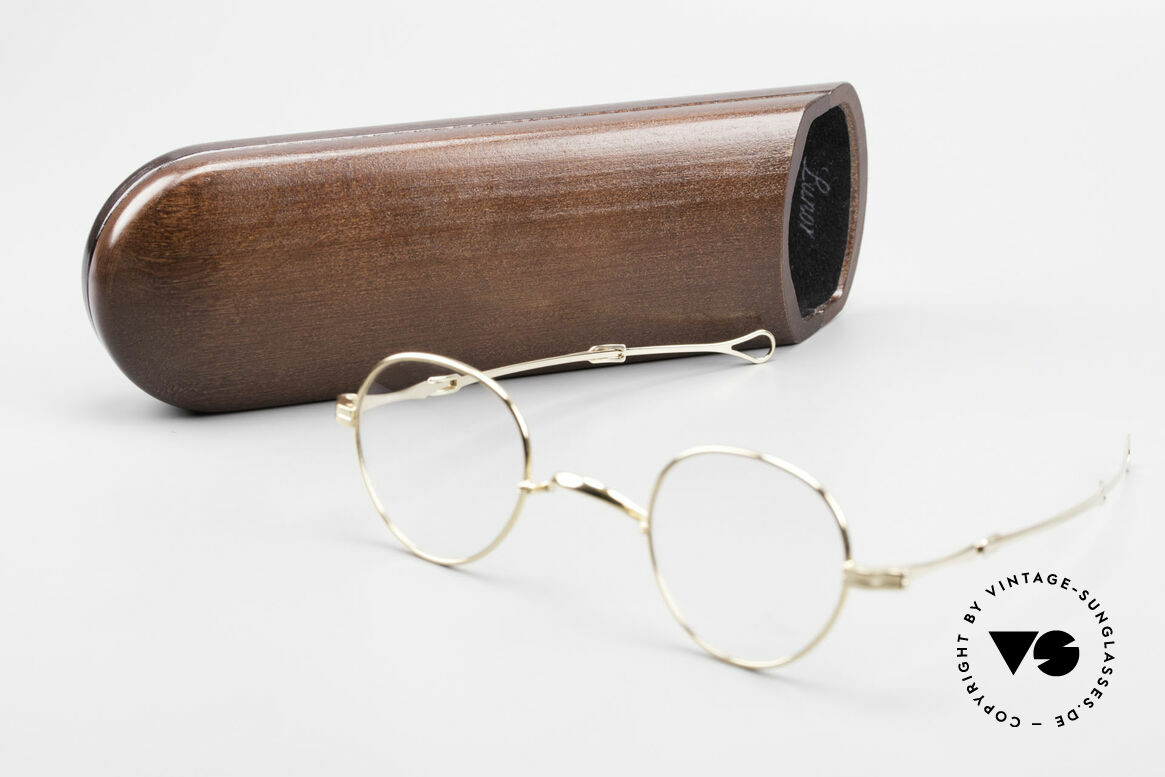 Lunor I 15 Telescopic Gold Plated Sliding Temples, Size: small, Made for Men and Women