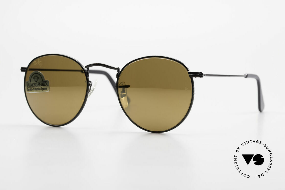 Ray Ban Round Metal 47 Small Round Diamond Hard, small round 1980's Ray-Ban B&L vintage sunglasses, Made for Men and Women