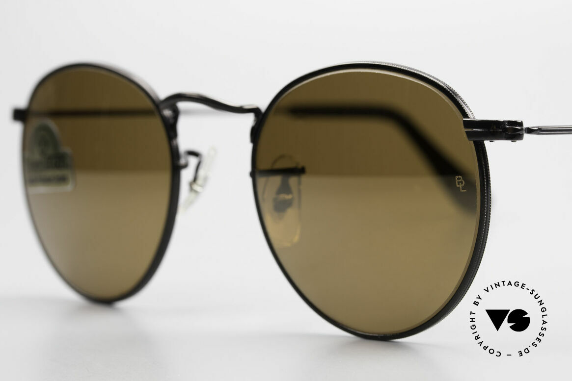 Ray Ban Round Metal 47 Small Round Diamond Hard, unworn Bausch&Lomb sunglasses + old Ray-Ban case, Made for Men and Women