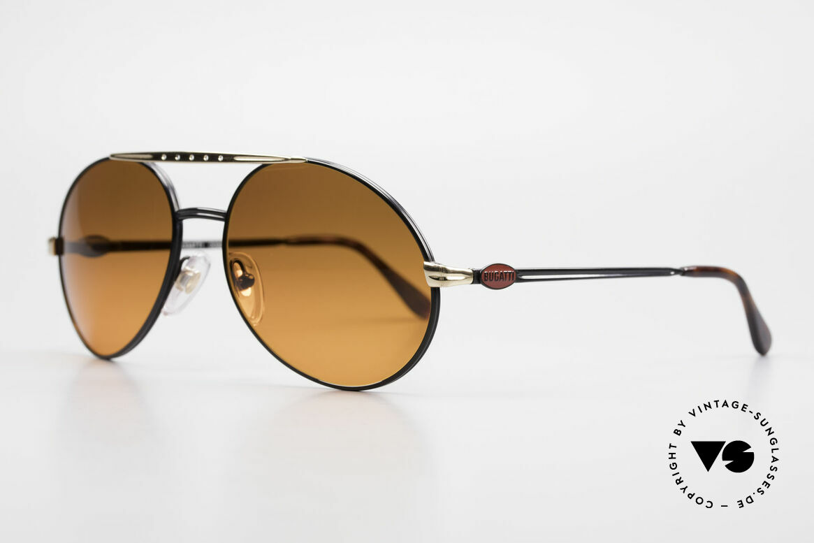 Bugatti 02927 Sunset Sun Lenses 80's Rarity, high-end frame finish in black & gold with red logos, Made for Men
