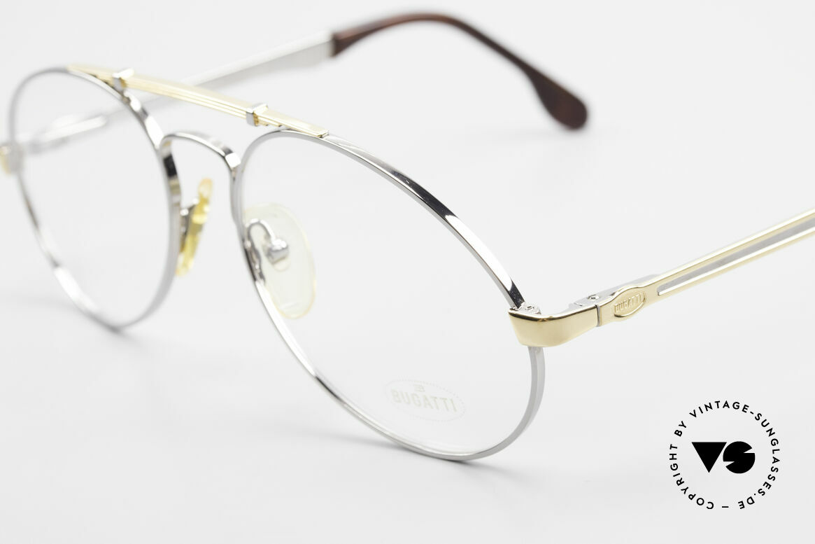 Bugatti 11946 Large 80's Luxury Eyeglasses, bridge is shaped like a leaf spring (silver/gold), Made for Men