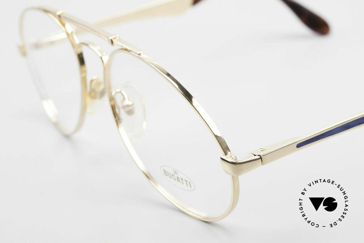 Bugatti 11945 Large Luxury 80's Eyeglasses, bridge is shaped like a leaf spring (gold & blue), Made for Men