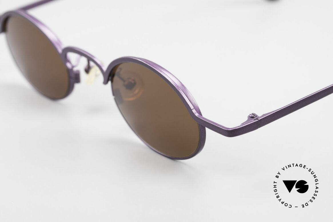 Theo Belgium San 90's Oval Designer Sunglasses, very interesting frame finish: DARK PURPLE METALLIC, Made for Women