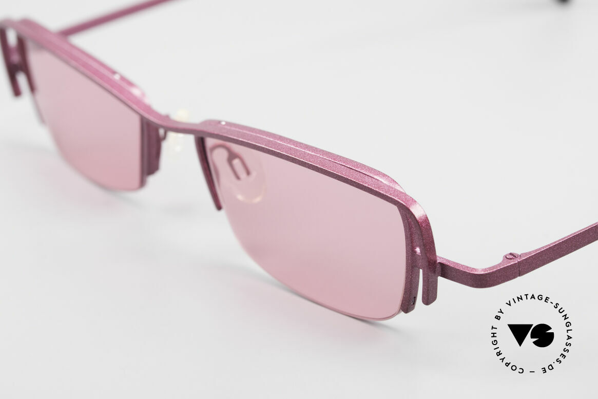 Theo Belgium Sping Square Ladies Designer Shades, very interesting frame finish in DARK PINK METALLIC, Made for Women