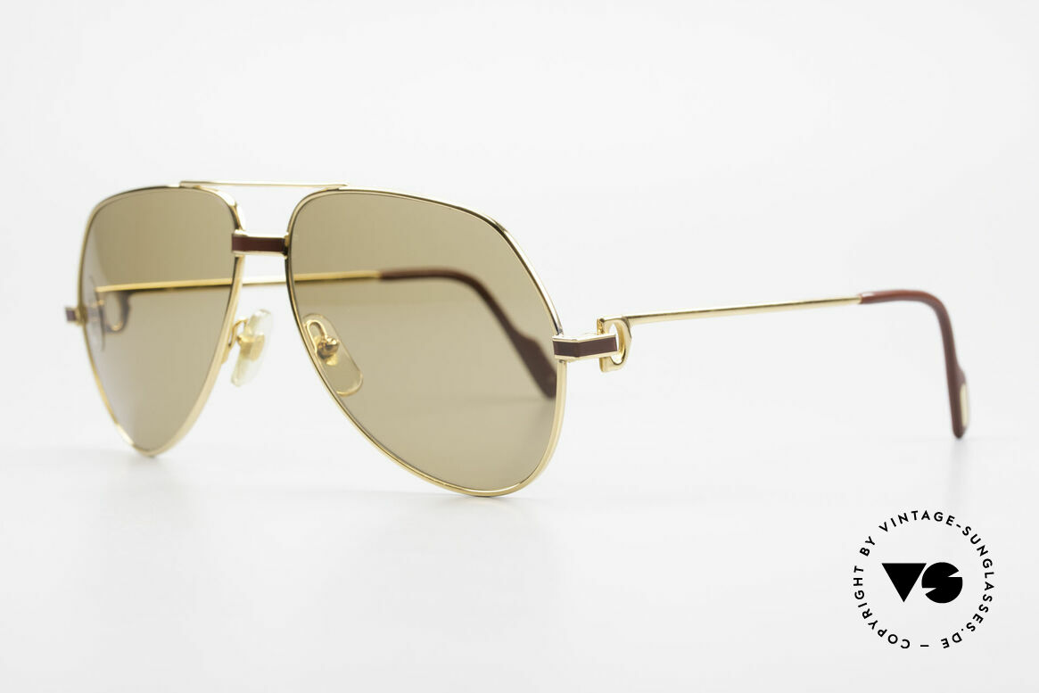 Cartier Vendome Laque - M Mystic Cartier Mineral Lenses, 22ct gold-plated (with Laque decor); Medium size 59-14, Made for Men