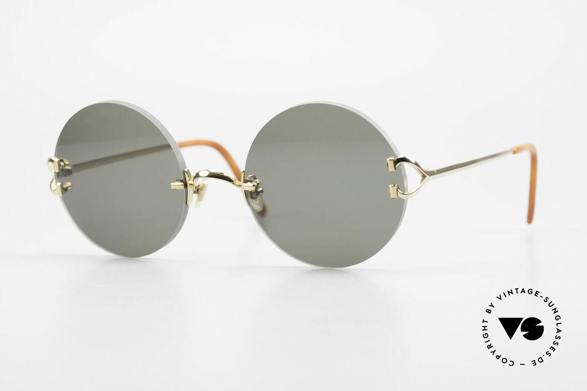 Cartier Madison Round Luxury Sunglasses 90's, noble rimless CARTIER luxury sunglasses from 1997, Made for Men and Women