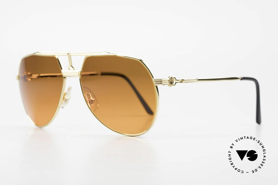 Maserati 6130 Luxury Aviator Sunglasses 80's, hard gold-plated metal frame in medium size 58/15, 135, Made for Men