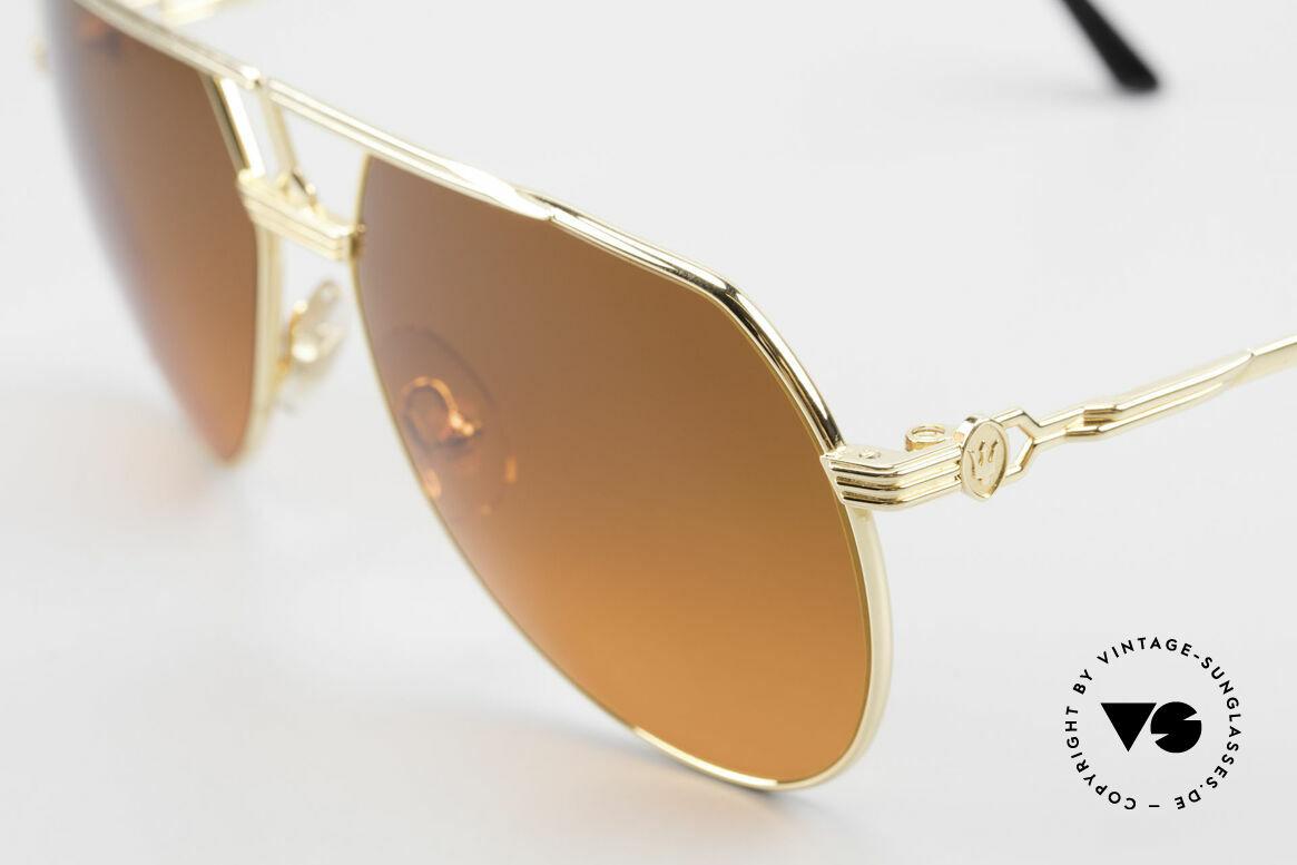 Maserati 6130 Luxury Aviator Sunglasses 80's, lenses are tinted like a sunset; unique fashion accessory, Made for Men