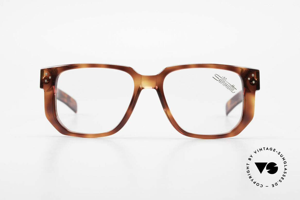 Silhouette M2097 1980's Old School Eyeglasses, beamy frame outline and dimensions; monolithic, Made for Men