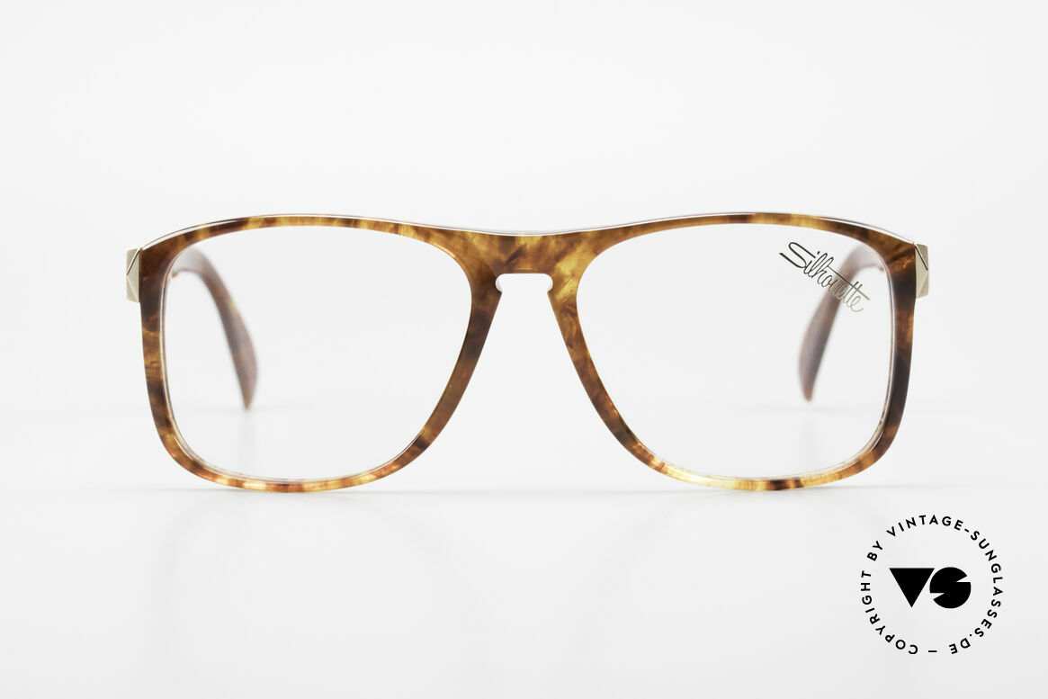 Silhouette M2086 Old 80's Frame Amber Optic, massive 'Old School' Silhouette vintage glasses, Made for Men