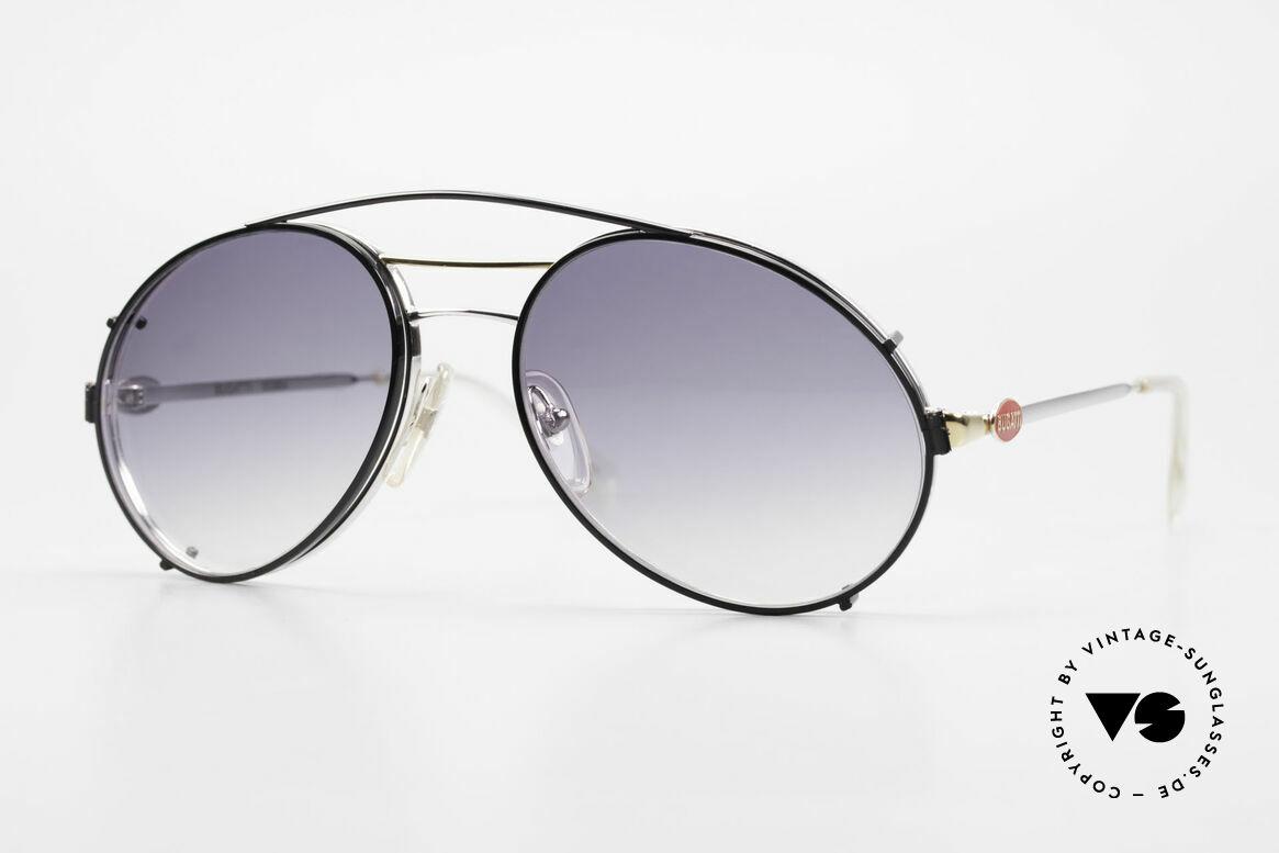 Bugatti 65984 80's Eyeglasses With Clip On, classic Bugatti sunglasses from app. 1988/89, Made for Men