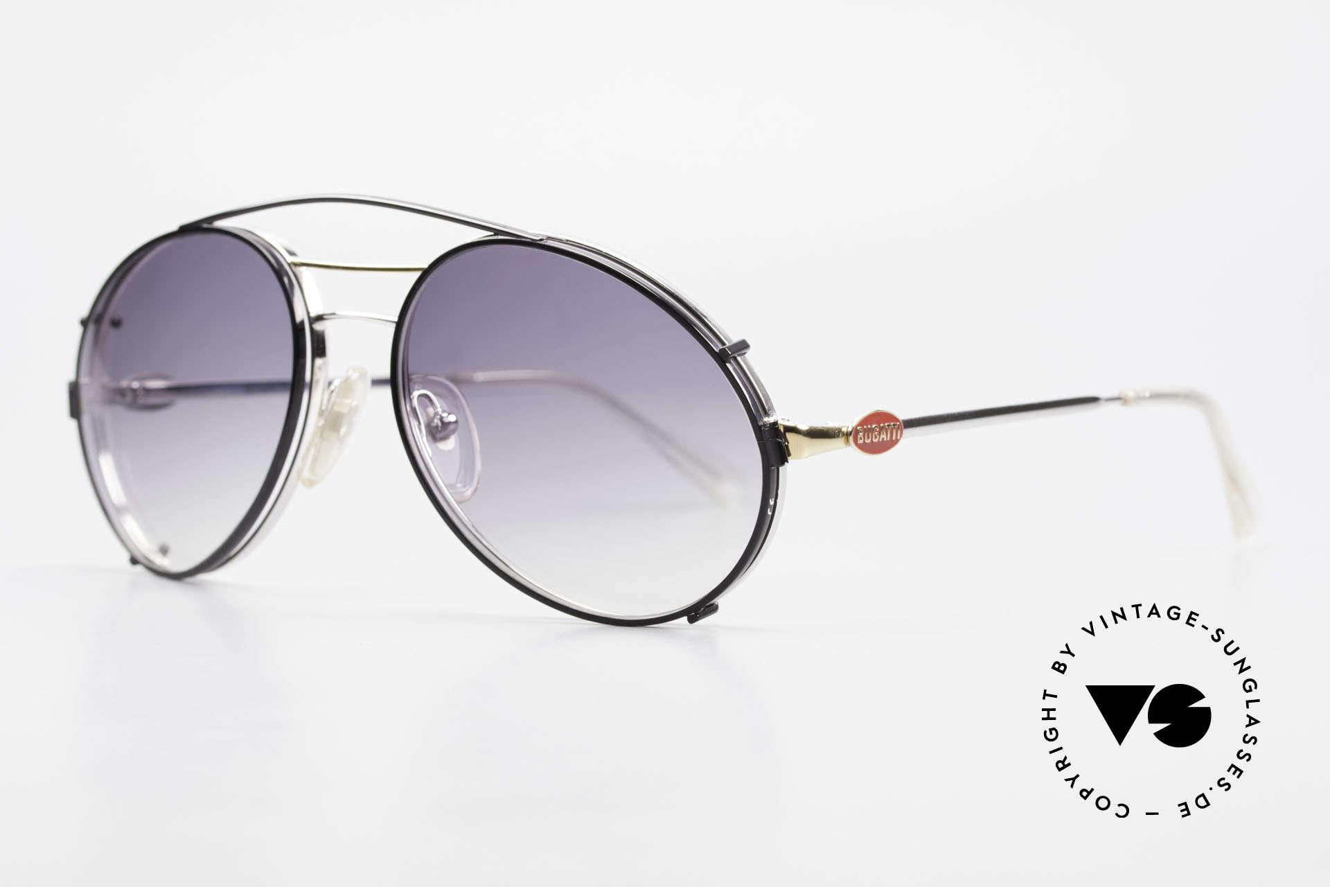Bugatti 65984 80's Eyeglasses With Clip On, often called as Bugatti 'sad tear drop' design, Made for Men