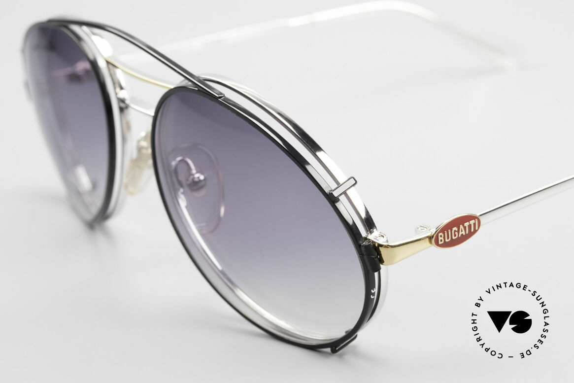 Bugatti 65984 80's Eyeglasses With Clip On, great contrast: silver frame & black Clip-On, Made for Men