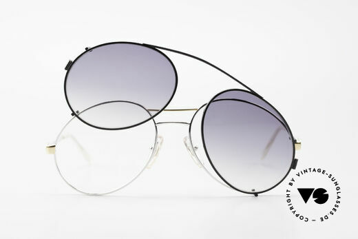 Bugatti 65984 80's Eyeglasses With Clip On, NO retro shades, but a true old 80's original!, Made for Men