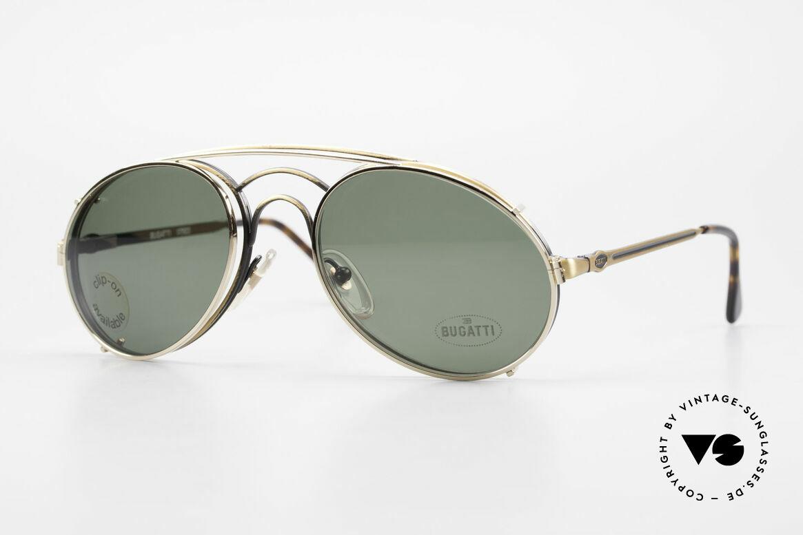 Bugatti 07823 Old 80's Glasses With Clip On, classic Bugatti 'sunglass' design' from approx. 1989, Made for Men