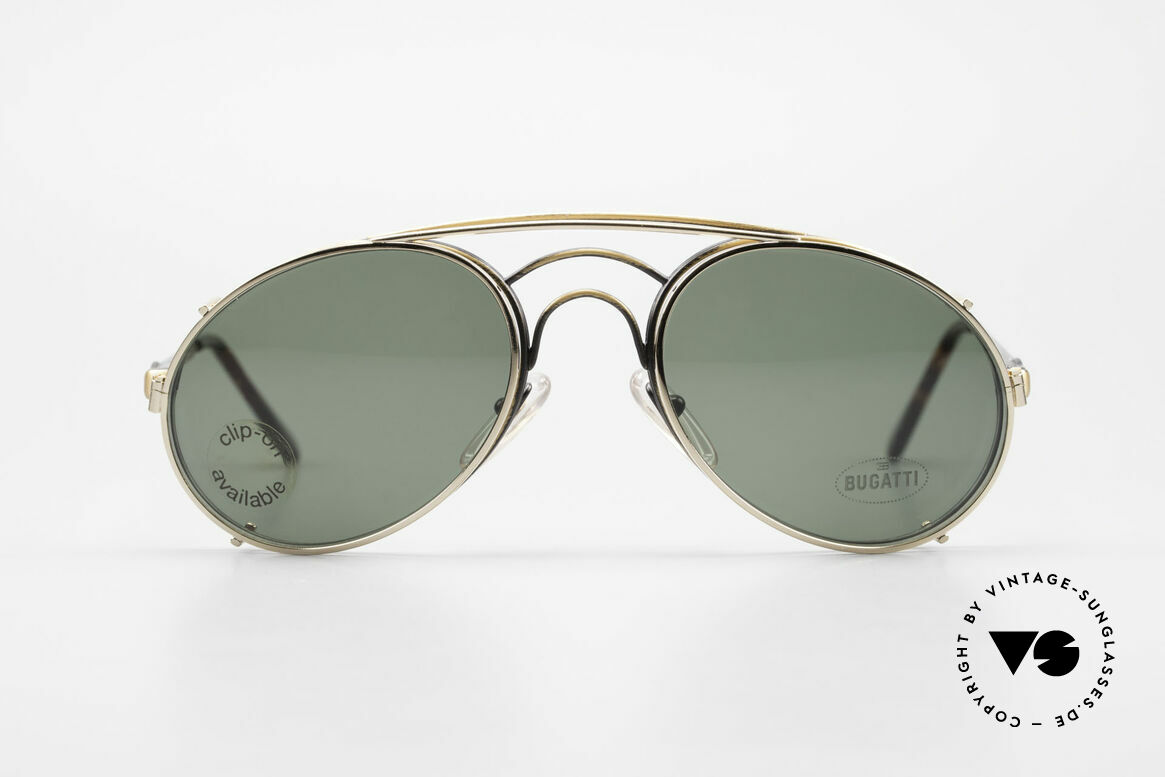 Bugatti 07823 Old 80's Glasses With Clip On, distinctive Bugatti 'tear drop' shape; in 52mm size, Made for Men