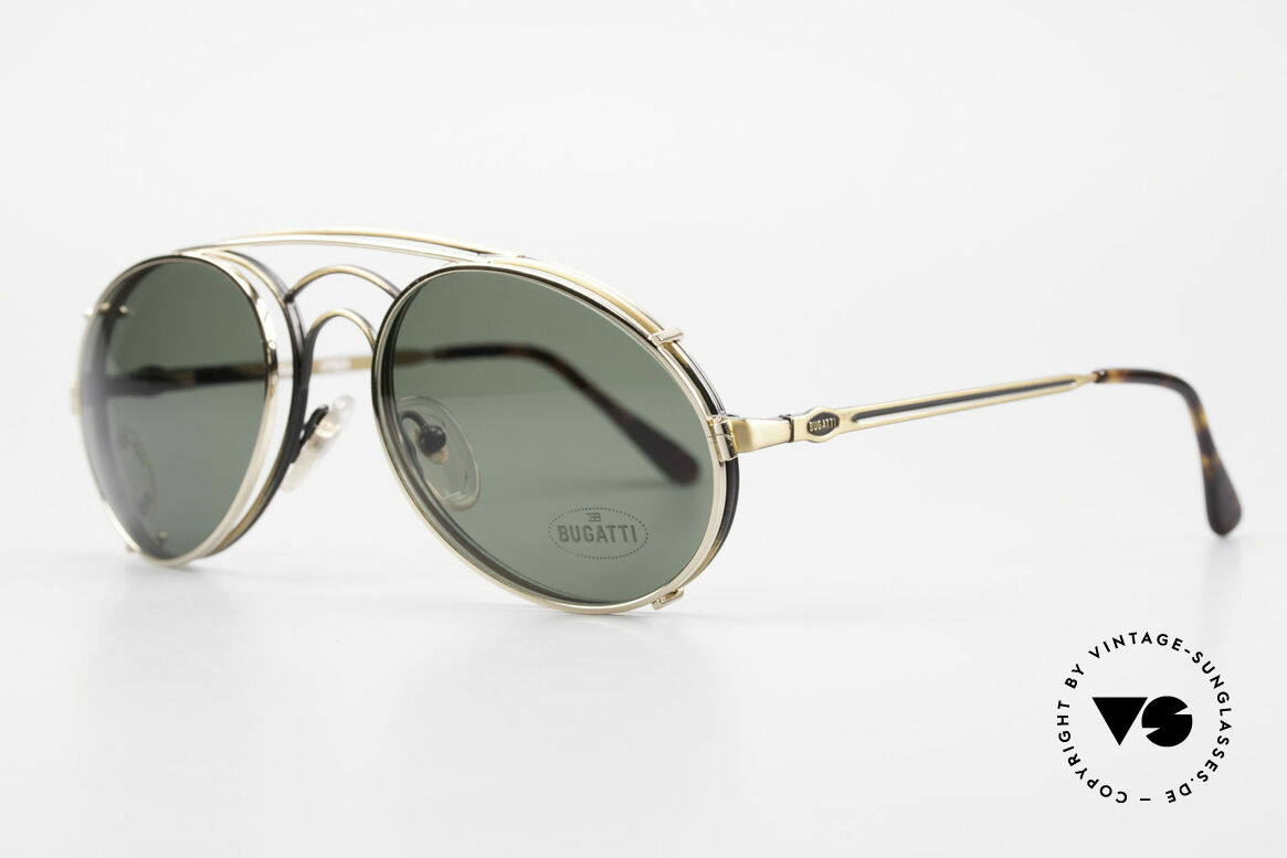 Bugatti 07823 Old 80's Glasses With Clip On, with flexible spring hinges (1. class wearing comfort), Made for Men