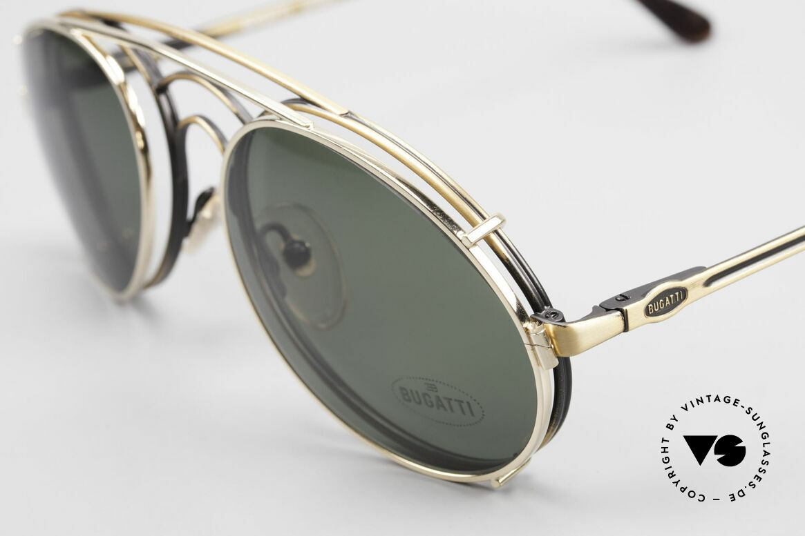 Bugatti 07823 Old 80's Glasses With Clip On, antique-gold frame & practical gold-plated CLIP-ON, Made for Men