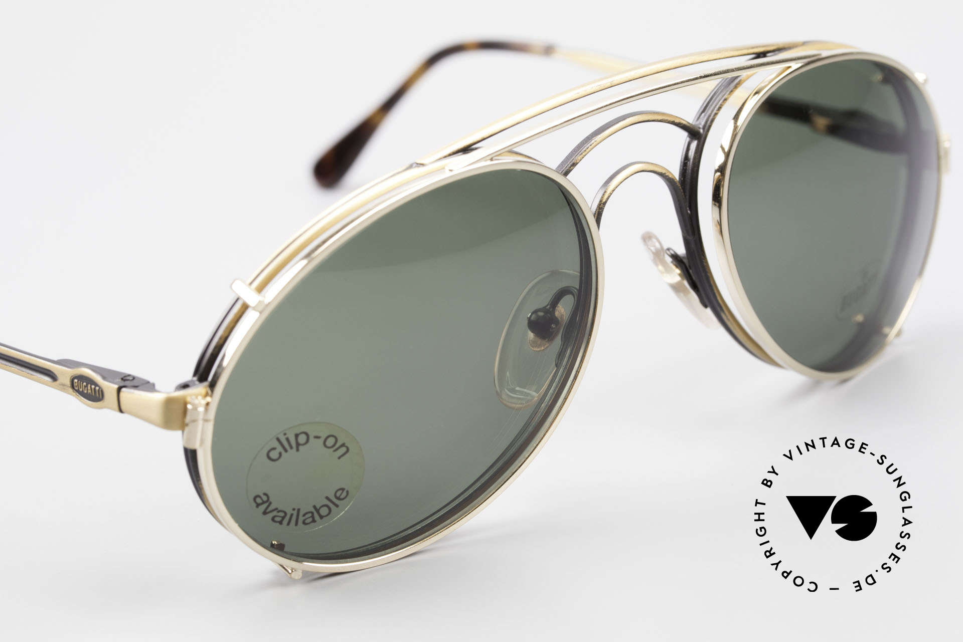 Bugatti 07823 Old 80's Glasses With Clip On, unworn (like all our vintage Bugatti designer shades), Made for Men