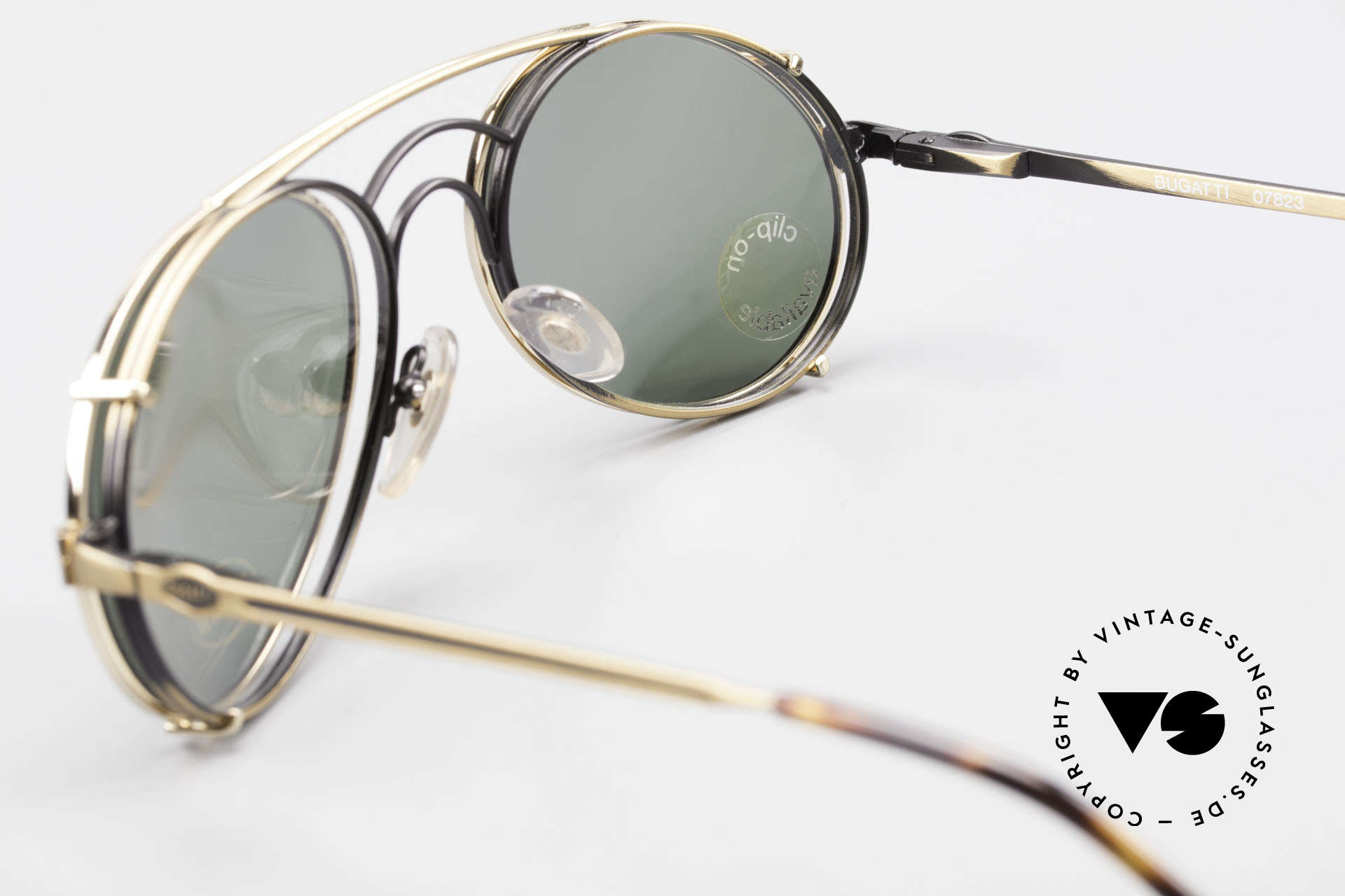 Bugatti 07823 Old 80's Glasses With Clip On, NO RETRO fashion, but an authentic old 80's original, Made for Men