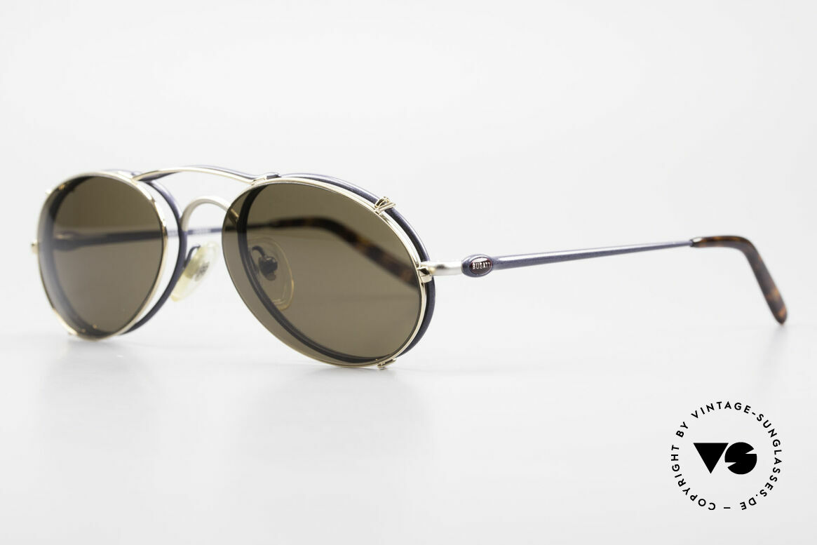 Bugatti 23444 Old 90's Glasses With Clip On, great contrast between frame (size 53/20) & Clip on, Made for Men