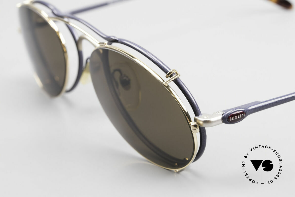 Bugatti 23444 Old 90's Glasses With Clip On, frame = navy blue / silver and Clip-On = gold-plated, Made for Men