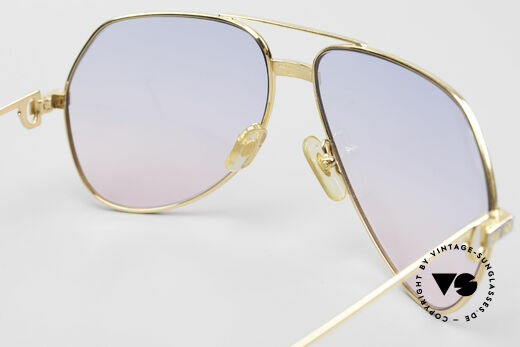 Cartier Vendome Santos - L Rare Luxury 80's Sunglasses, lenses from BABY-BLUE to PINK; also wearable at night, Made for Men