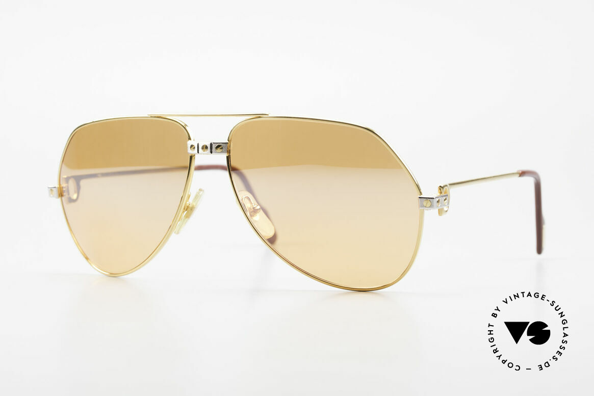 Cartier Vendome Santos - L Half Mirrored Orange Lenses, Vendome = the most famous eyewear design by CARTIER, Made for Men
