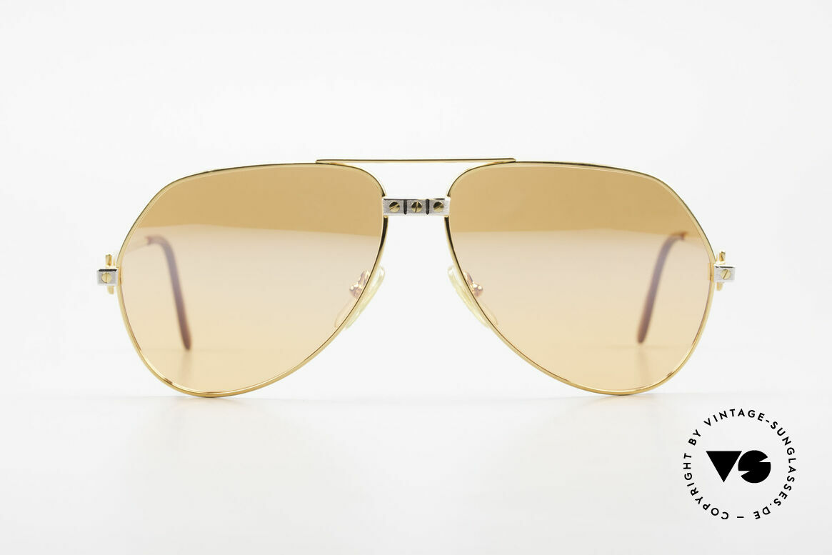 "Cartier Vendome Santos - L Half Mirrored Orange Lenses, mod. ""Vendome"" was launched in 1983 & made till 1997, Made for Men"