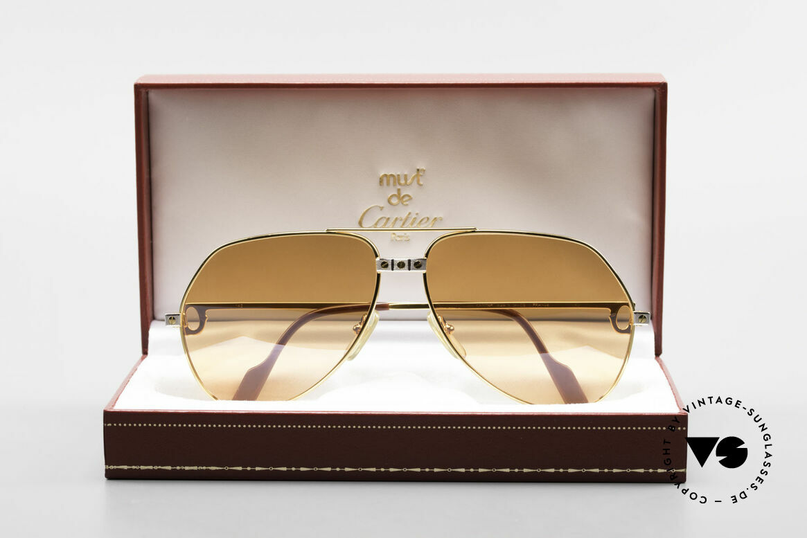 Cartier Vendome Santos - L Half Mirrored Orange Lenses, 2nd hand model, but in mint condition + CARTIER box, Made for Men