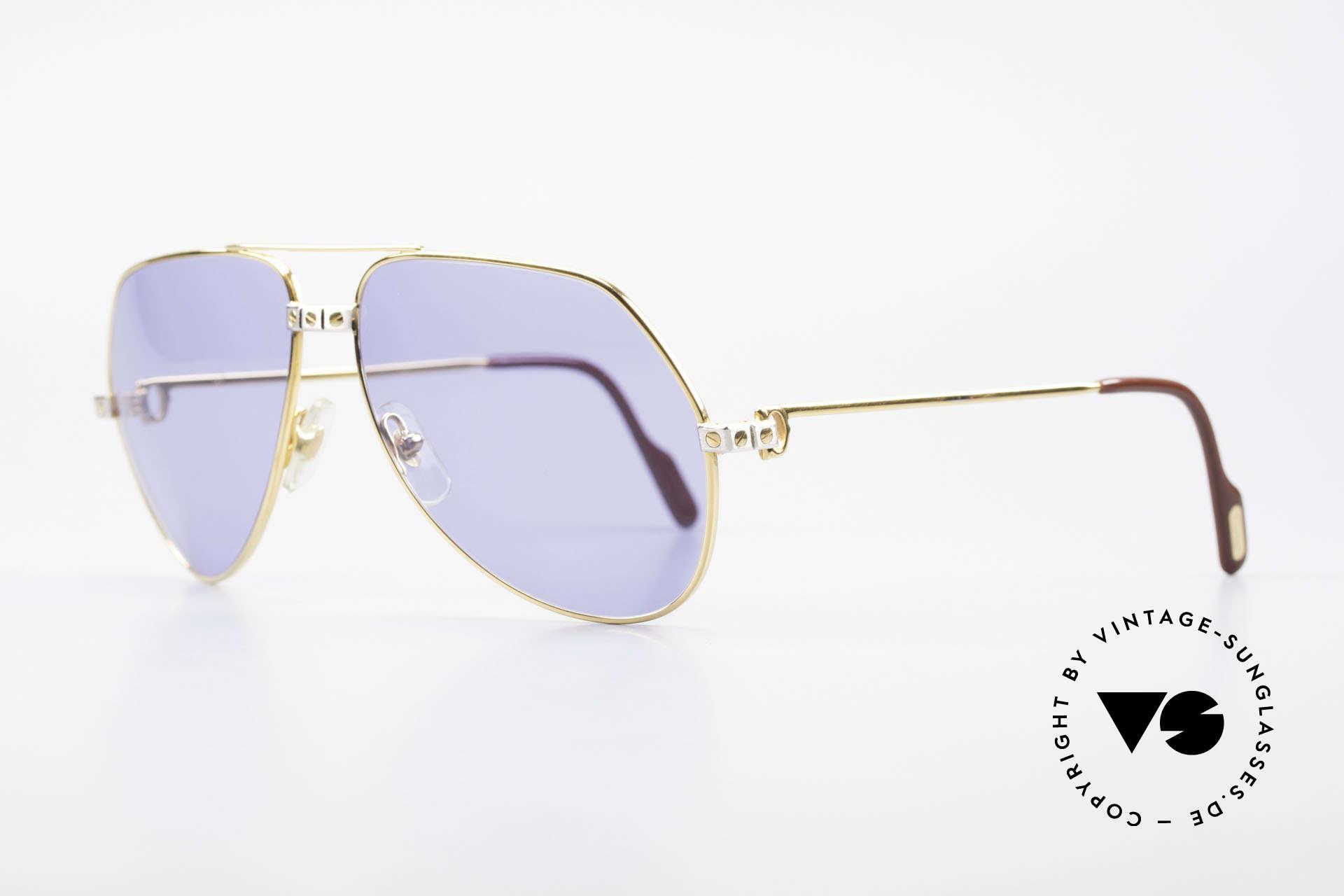 Cartier Vendome Santos - L 80's Luxury Aviator Sunglasses, Santos Decor (with 3 screws) in LARGE size 62-14, 140, Made for Men