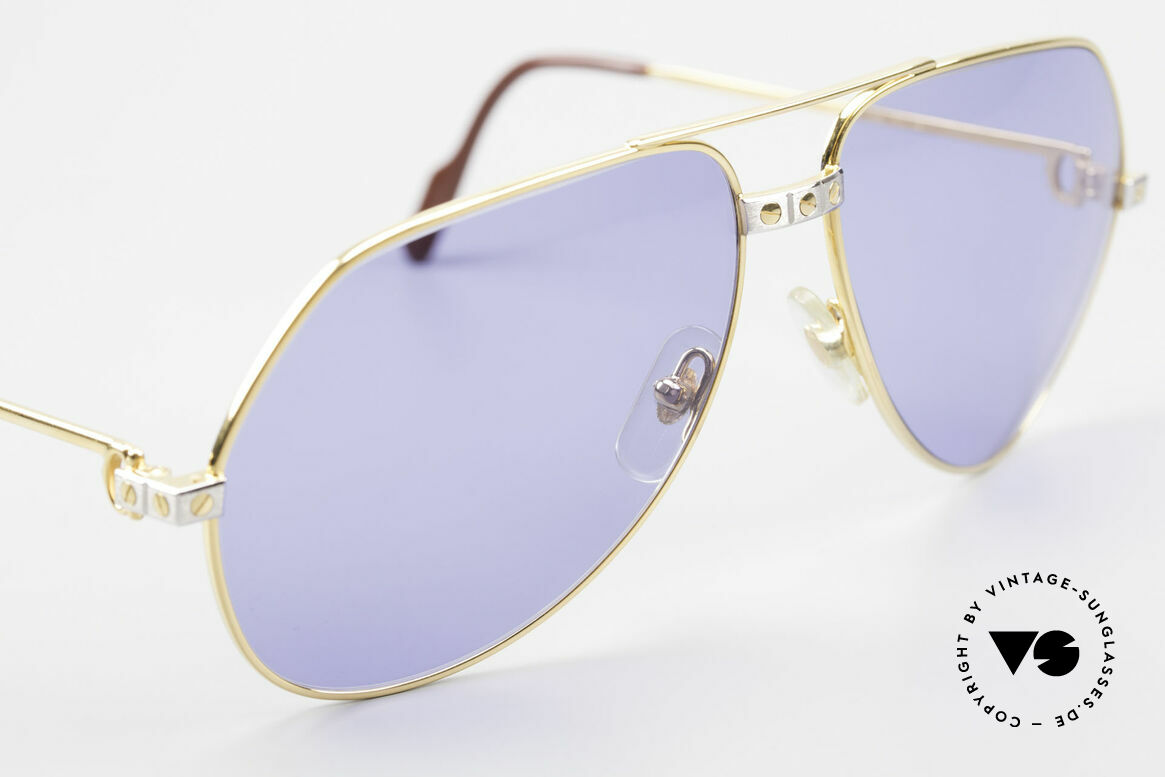 Cartier Vendome Santos - L 80's Luxury Aviator Sunglasses, with new sun lenses in navy-blue (100% UV protection), Made for Men