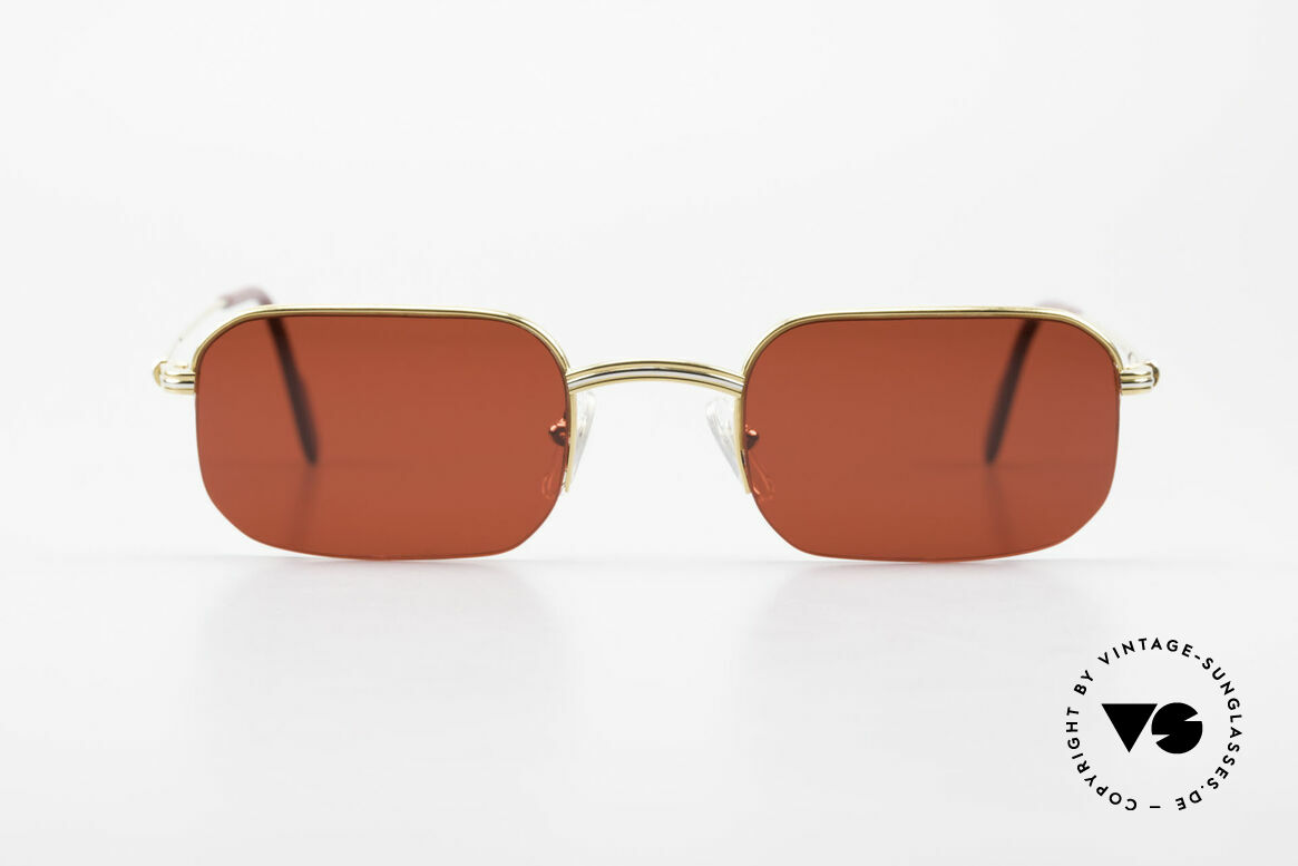 Cartier Broadway Semi Rimless Sunglasses 3D Red, square CARTIER vintage sunglasses in size 51/23, 140, Made for Men