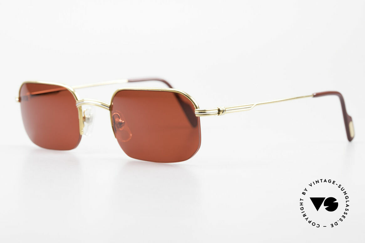 Cartier Broadway Semi Rimless Sunglasses 3D Red, 22ct GOLD-plated with new, gaudy 3D red sun lenses, Made for Men