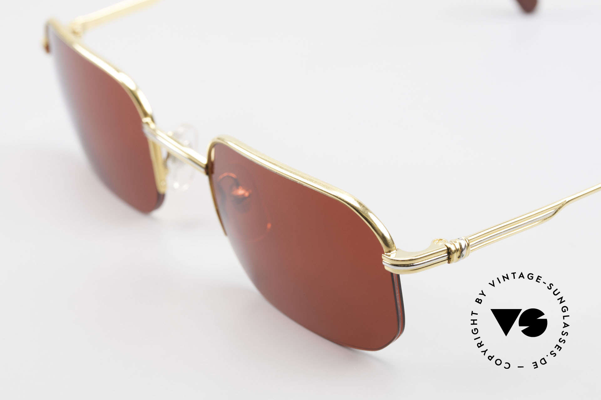 Cartier Broadway Semi Rimless Sunglasses 3D Red, unworn luxury frame comes with a CHANEL hard case, Made for Men