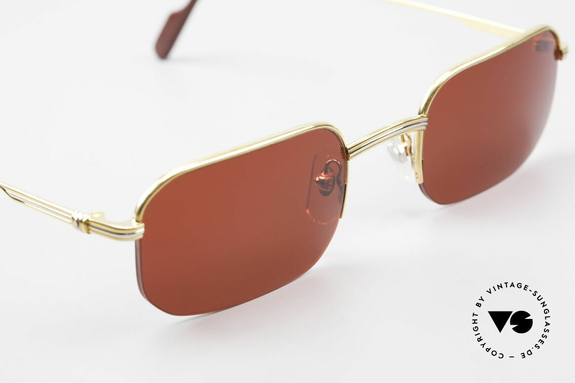 Cartier Broadway Semi Rimless Sunglasses 3D Red, the fun lenses can be replaced with lenses of any kind, Made for Men