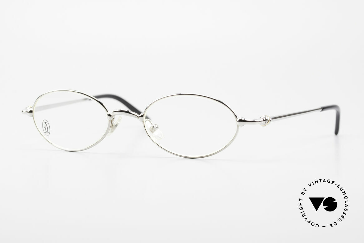 Cartier Mizar Oval Frame Luxury Platinum, oval CARTIER vintage eyeglasses in size 47/19, 130, Made for Men and Women