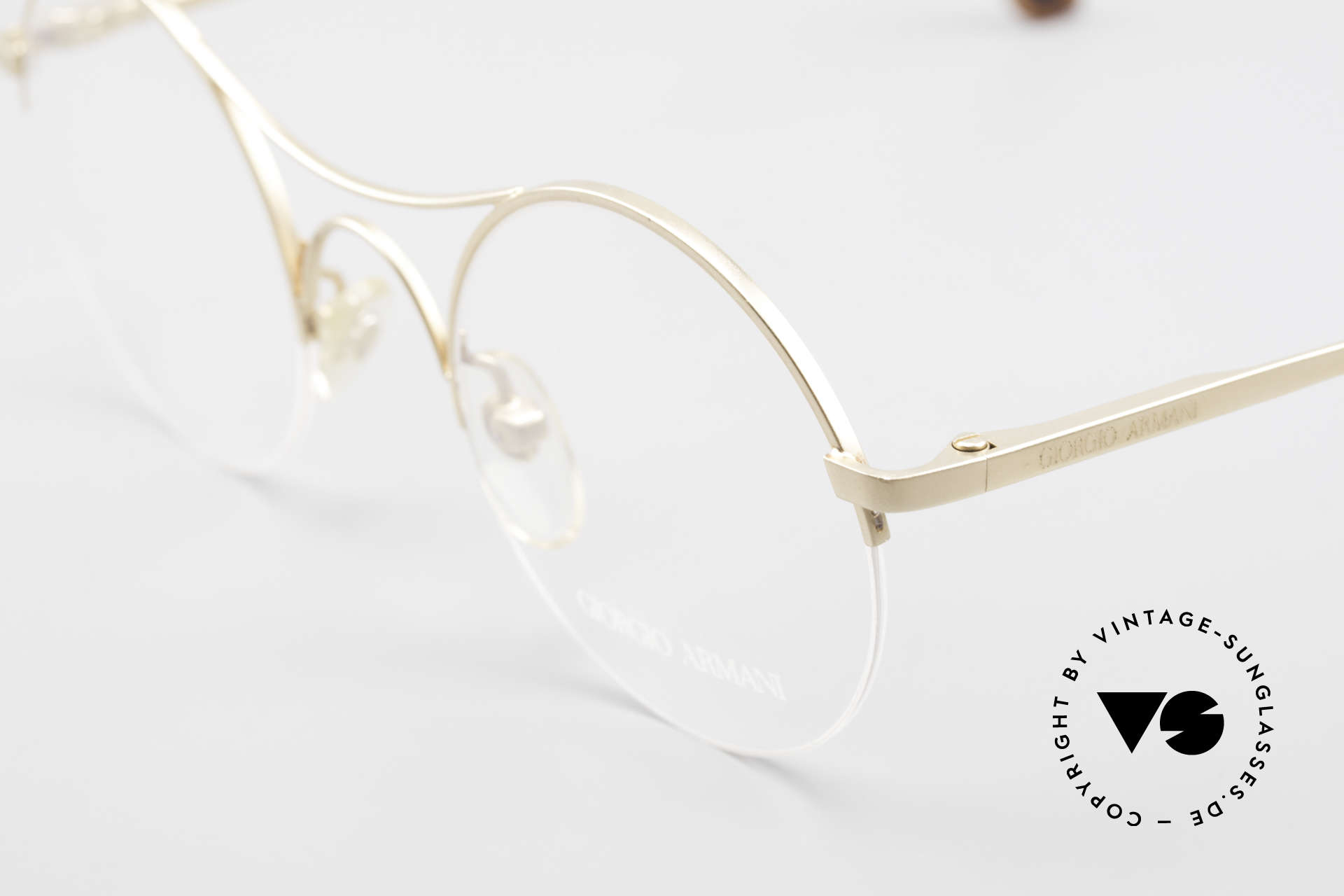 Giorgio Armani 121 Schubert Glasses Round Style, plain and puristic 'wire glasses' with a Nylor thread, Made for Men