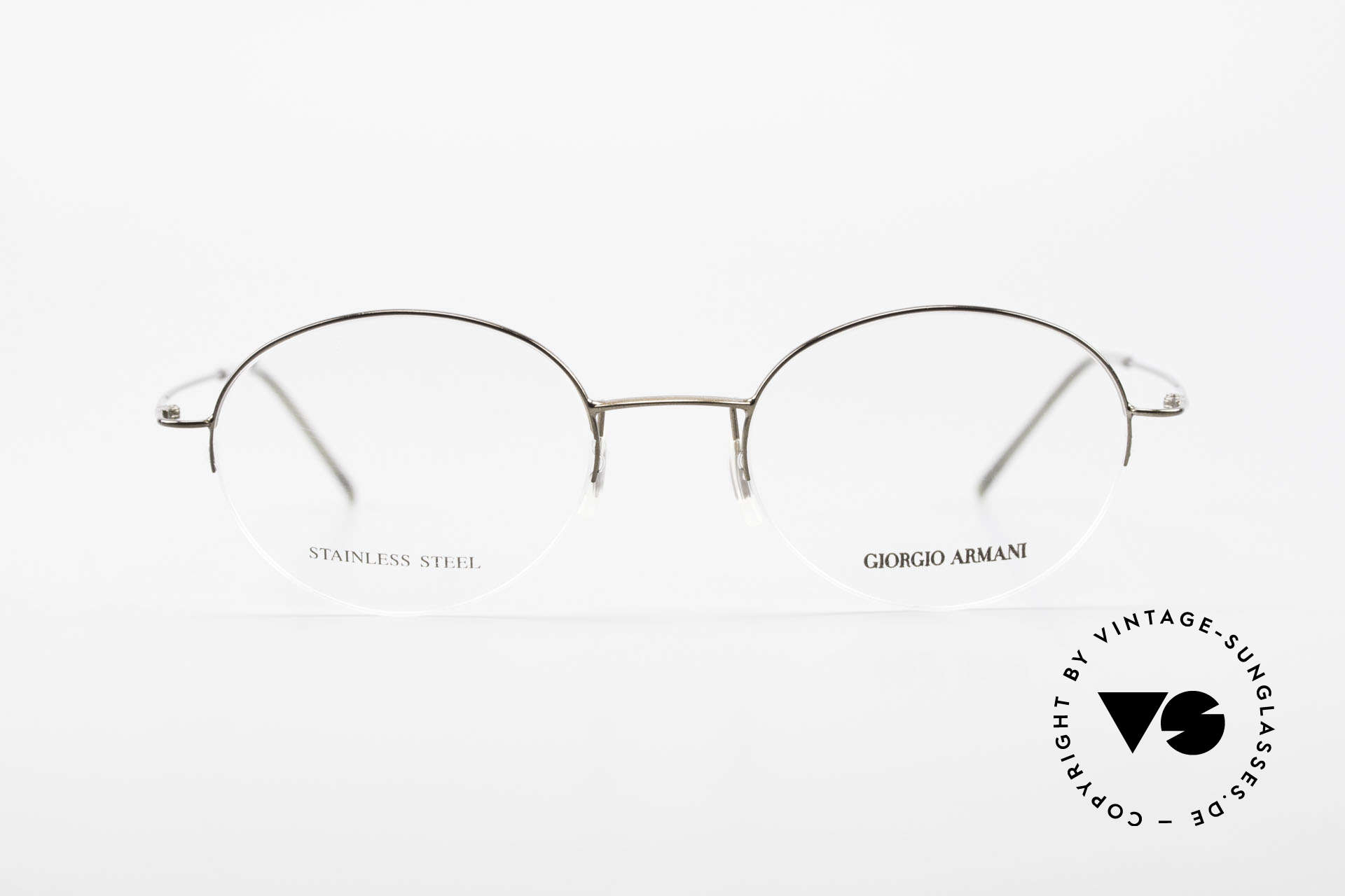Giorgio Armani 27N Small Round Eyeglasses Nylor, plain and puristic 'wire glasses' in a SMALL SIZE!, Made for Men and Women