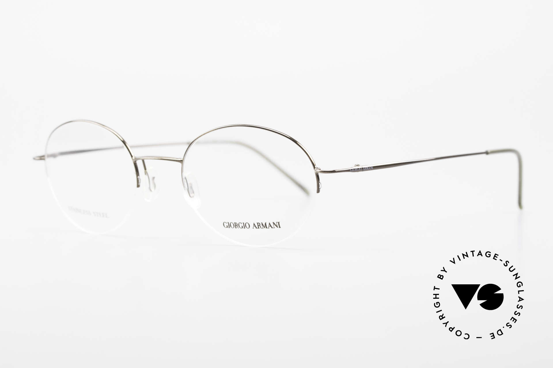 Giorgio Armani 27N Small Round Eyeglasses Nylor, very interesting frame finish in TAUPE METALLIC, Made for Men and Women